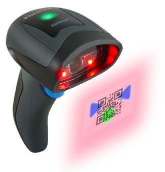 <p>青色LEDの照準システムとグリーンスポットの読み取り完了で見た目での確認が容易</p>