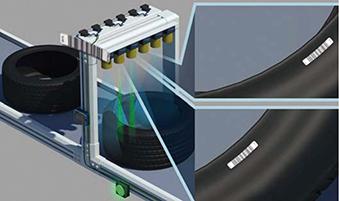 <p>タイヤに貼付されている極小バーコードラベルをカメラ式コードリーダで対応。もちろん2次元コードでも対応が可能です。</p>